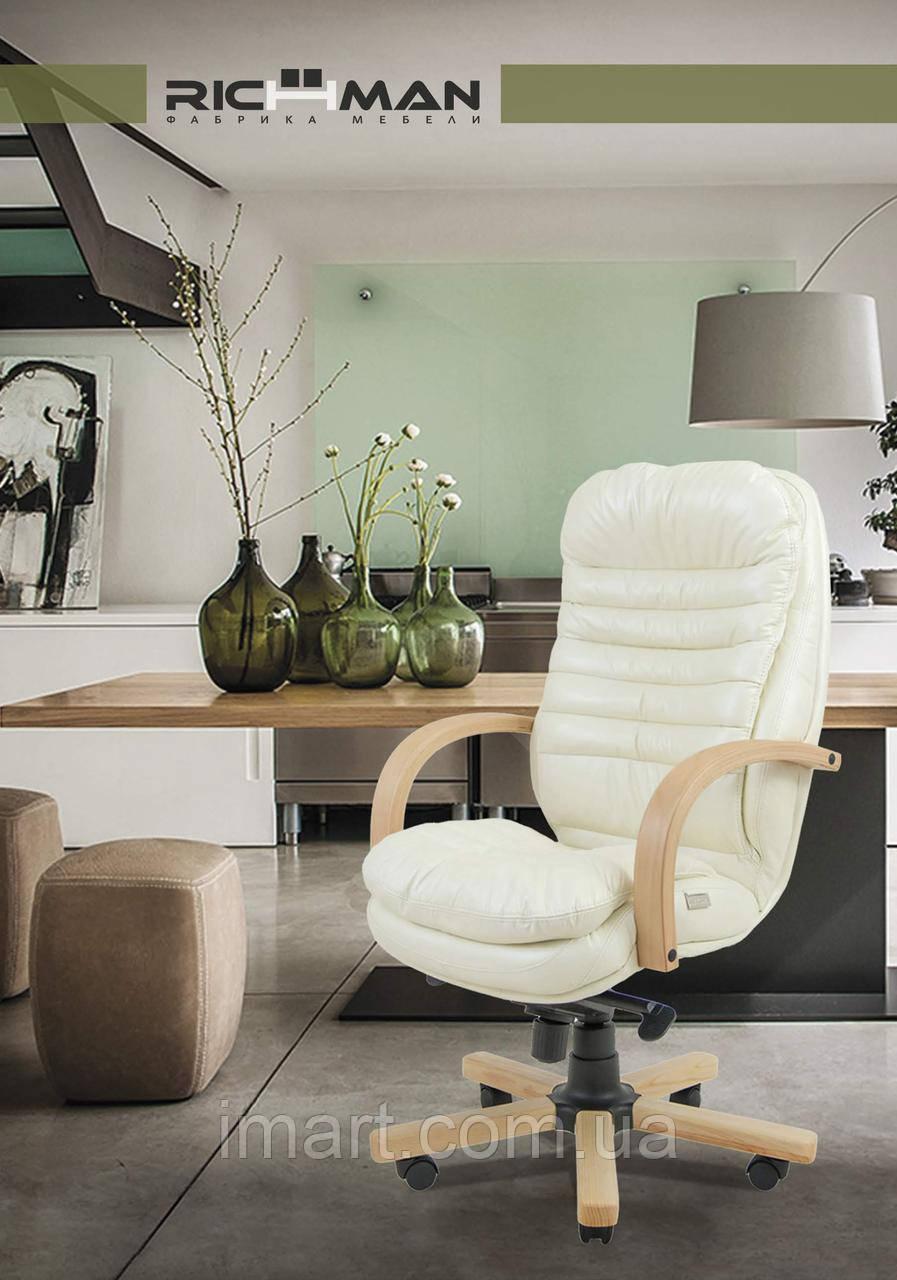 Кресло для руководителя Валенсия вуд Кожа-Люкс комбинированная