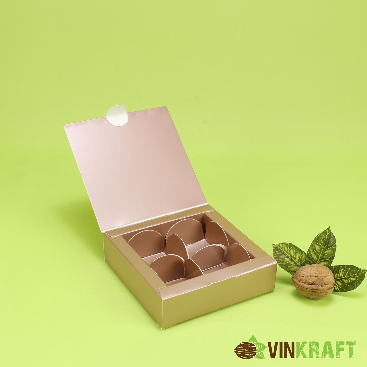 Коробка 112*112*30 для цукерок (4 шт), коричневий металік