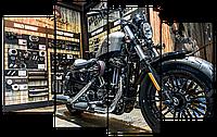 Модульная картина Interno Эко кожа  Чоппер Мотоцикл 94x56см (A1640S)