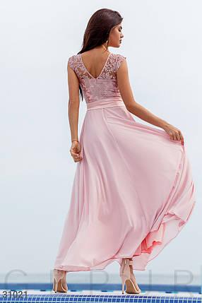 Длинное вечернее платье с вышивкой нежно-розового цвета, фото 2