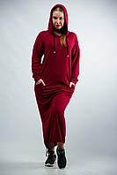 Женское платье  туника спортивная макси с капюшоном от бренда Adele Leroy.