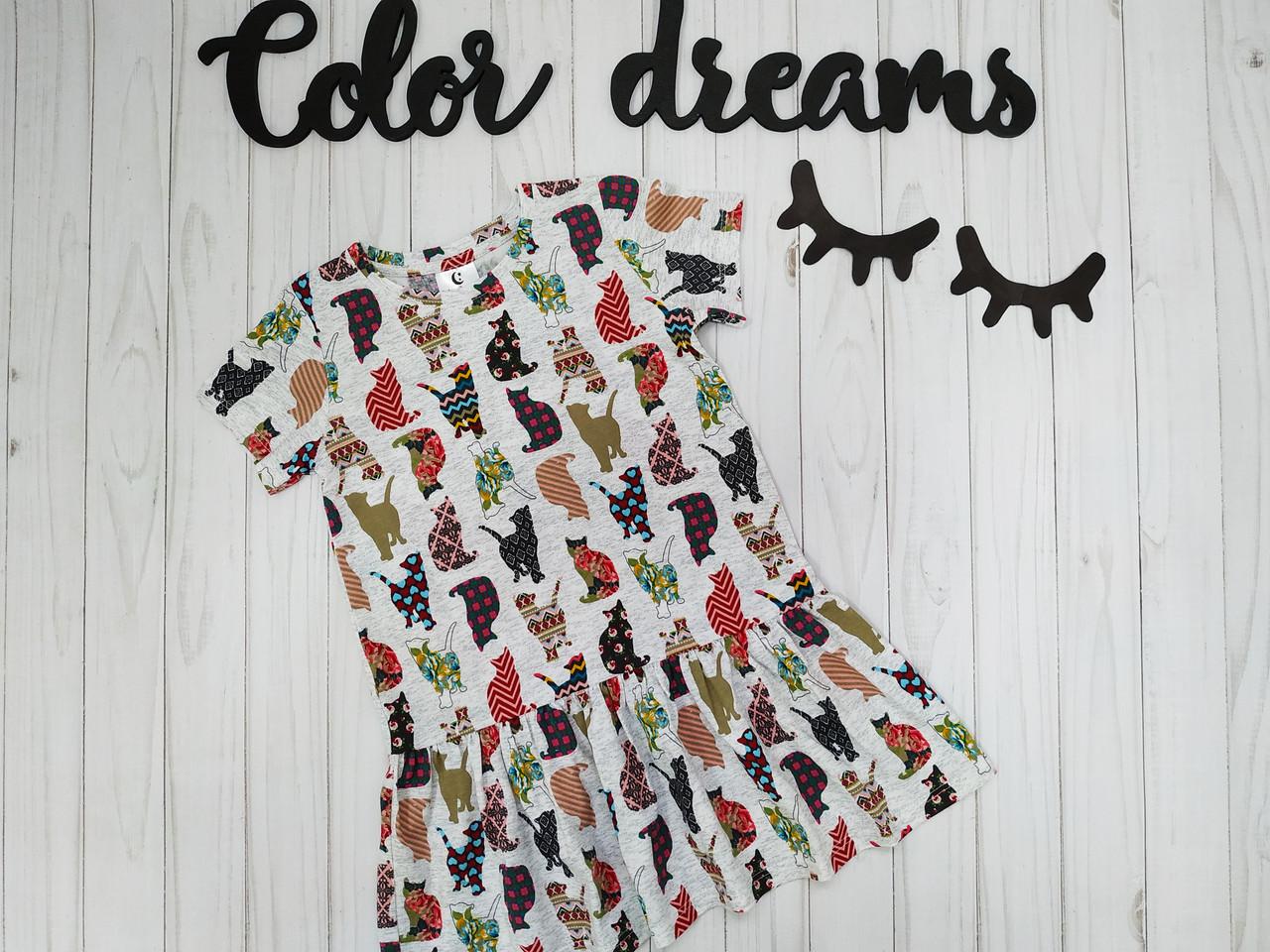 Платье для девочки из кулира на лето Котики
