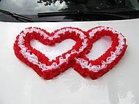 Сердца гофра красно-белые