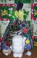 Новогодний набор Гипсовая фигурка Миньон, Акриловые краски, Кисточка, Новогодняя упаковка, фото 1