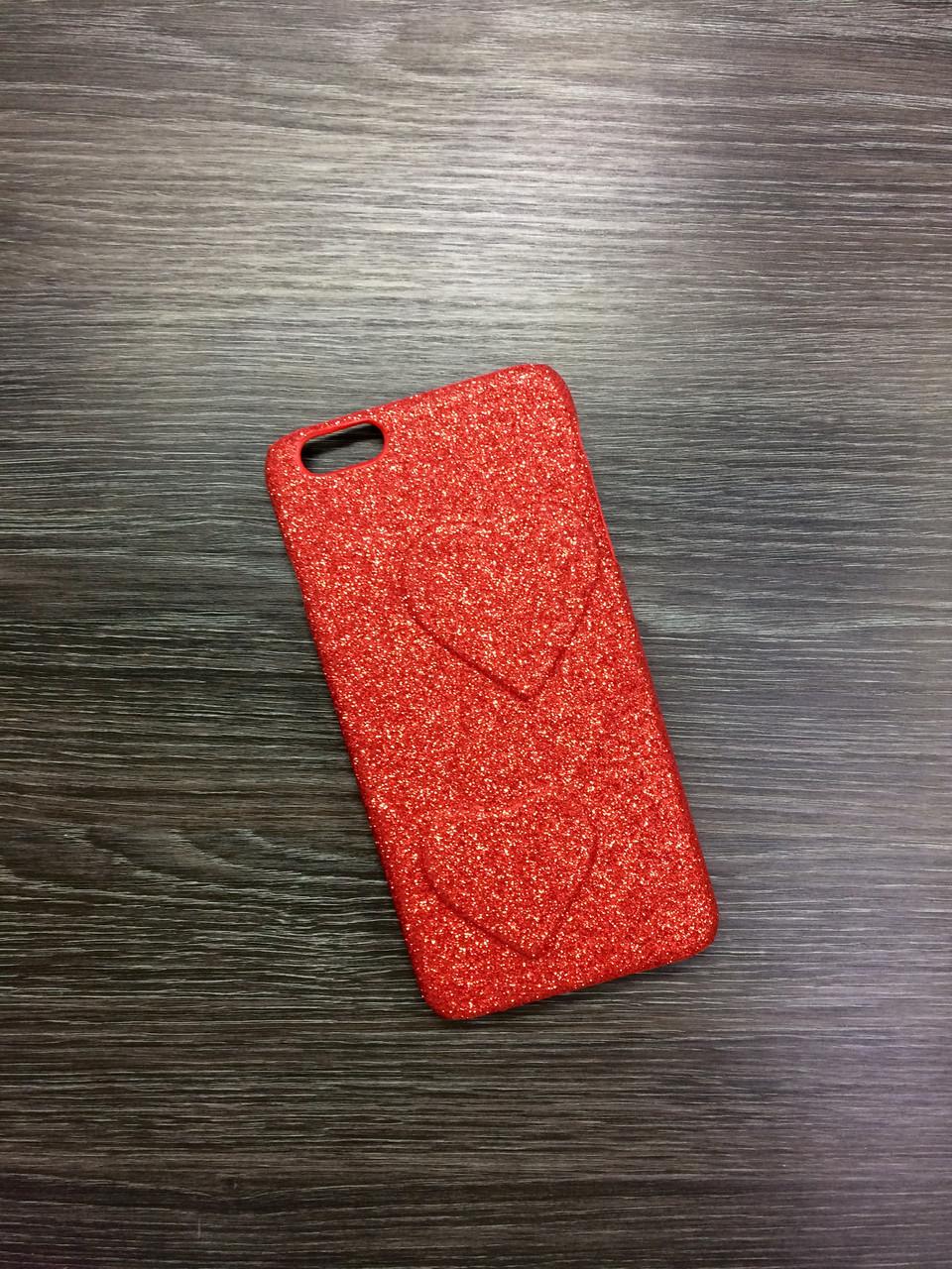 Пластиковый чехол для iPhone 7 Plus / 8 Plus Red с сердцами
