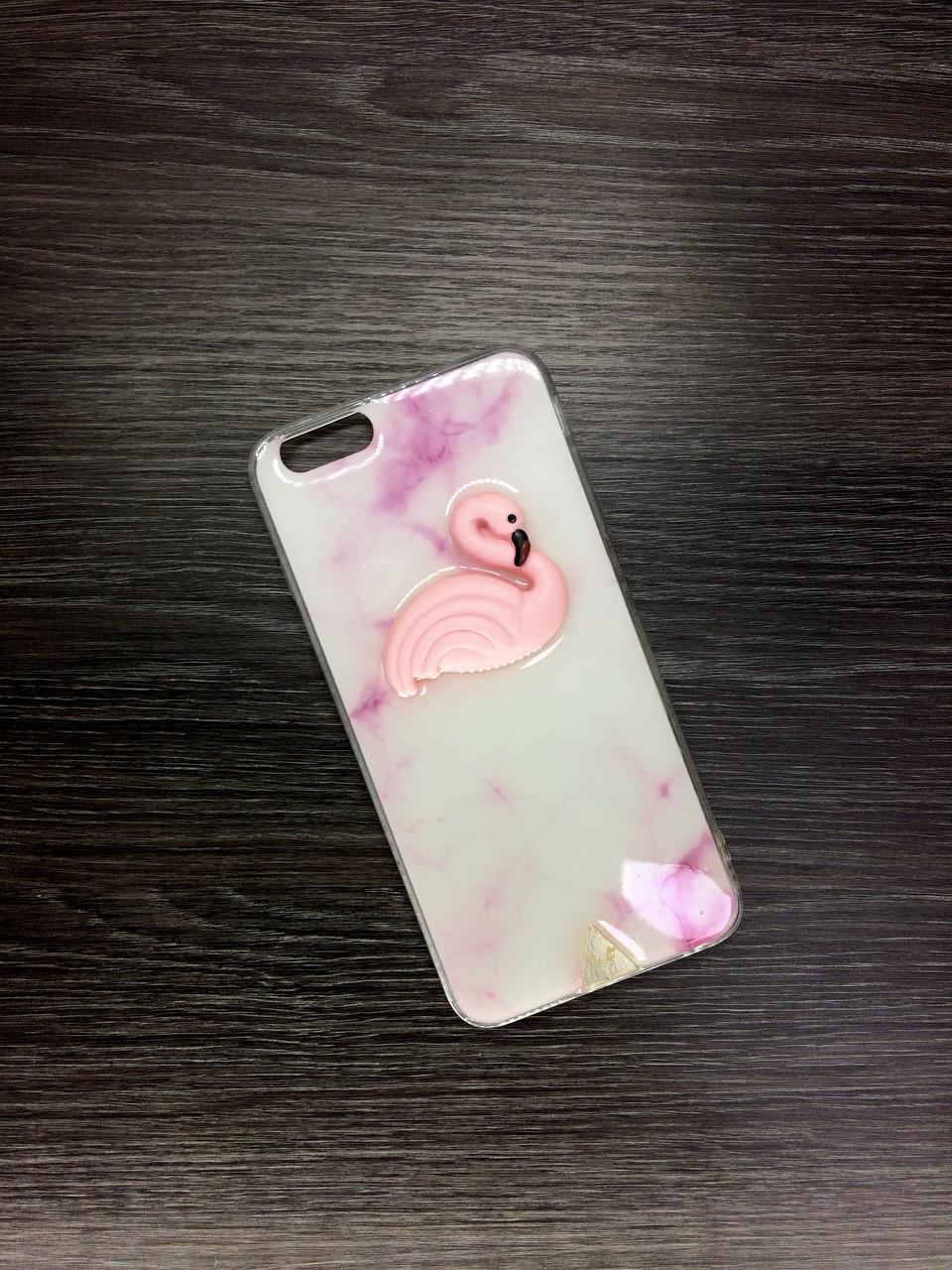 Силиконовый чехол для iPhone 7 Plus / 8 Plus бежевый с розовым