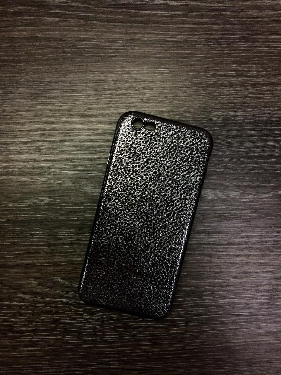 Силиконовый чехол для iPhone 6 / 6S Черный под кожу