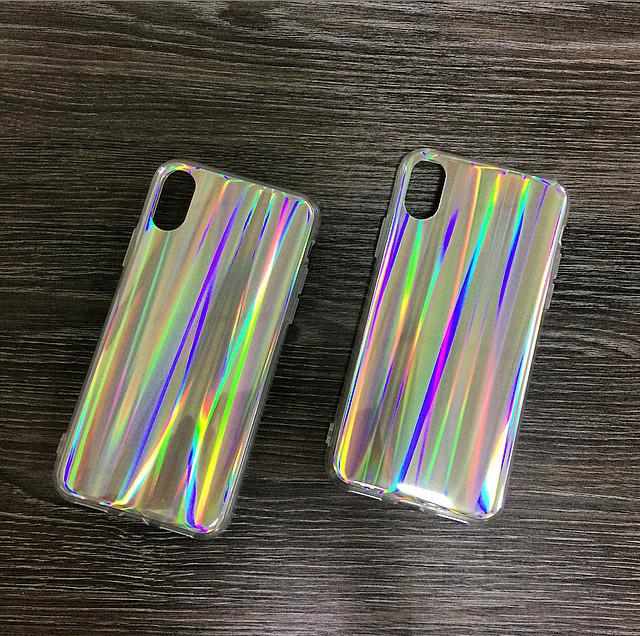 Силиконовый чехол для iPhone X / XS Серый с переливами радуги