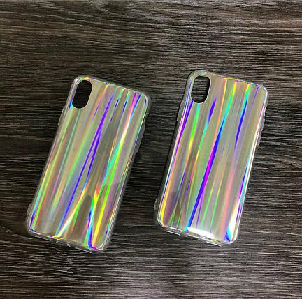 Силиконовый чехол для iPhone X / XS Серый с переливами радуги, фото 2