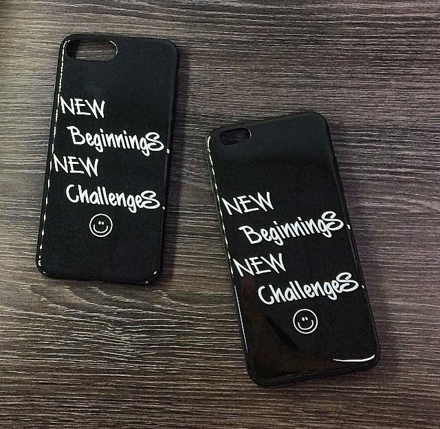 Силиконовый чехол для iPhone 6 Plus / 6S Plus черный c надписью