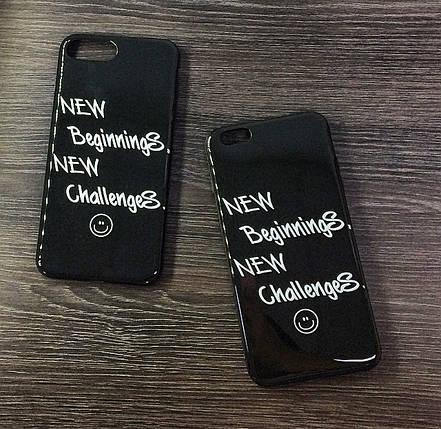 Силиконовый чехол для iPhone 6 Plus / 6S Plus черный c надписью, фото 2