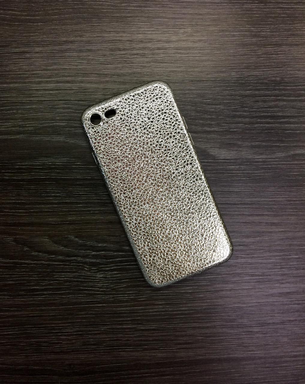 Чехол для iPhone 7 / 8 серебро под кожу