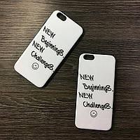Силиконовый чехол для iPhone 6 / 6S Белый c надписью