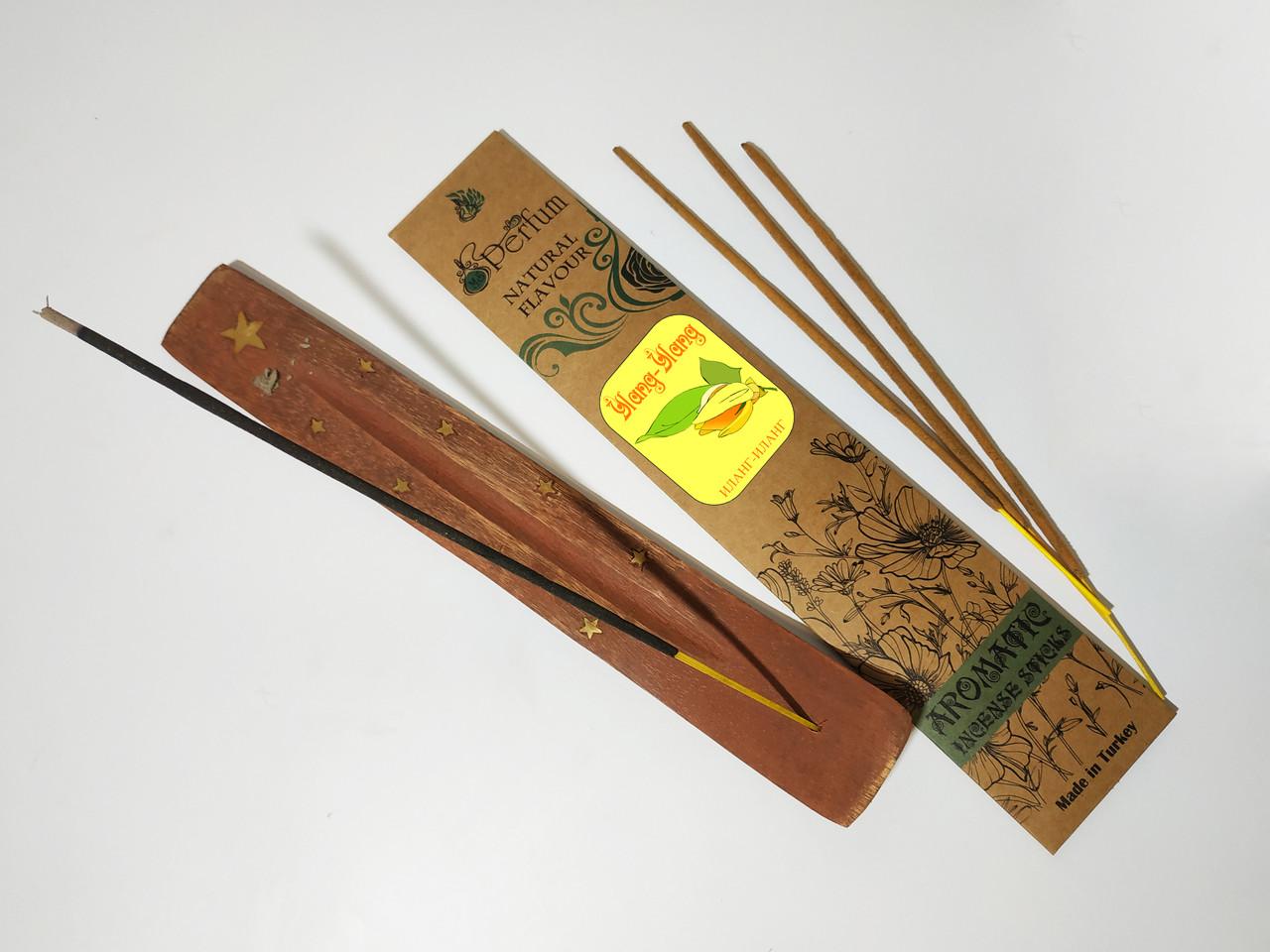 Набор: аромапалочки с ароматом иланг-иланга + деревянная подставка под благовония