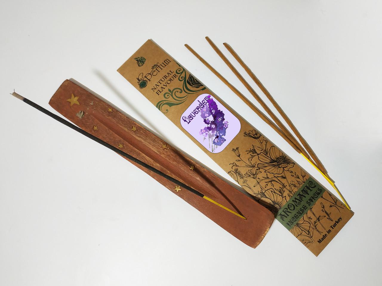 Набор: аромапалочки с ароматом лаванды + деревянная подставка под благовония