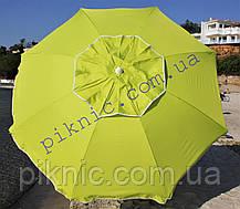Пляжный зонт 2 м клапан и наклон. Плотная ткань. Тканевый чехол. Зонтик для пляжа от солнца. Бирюза, фото 3