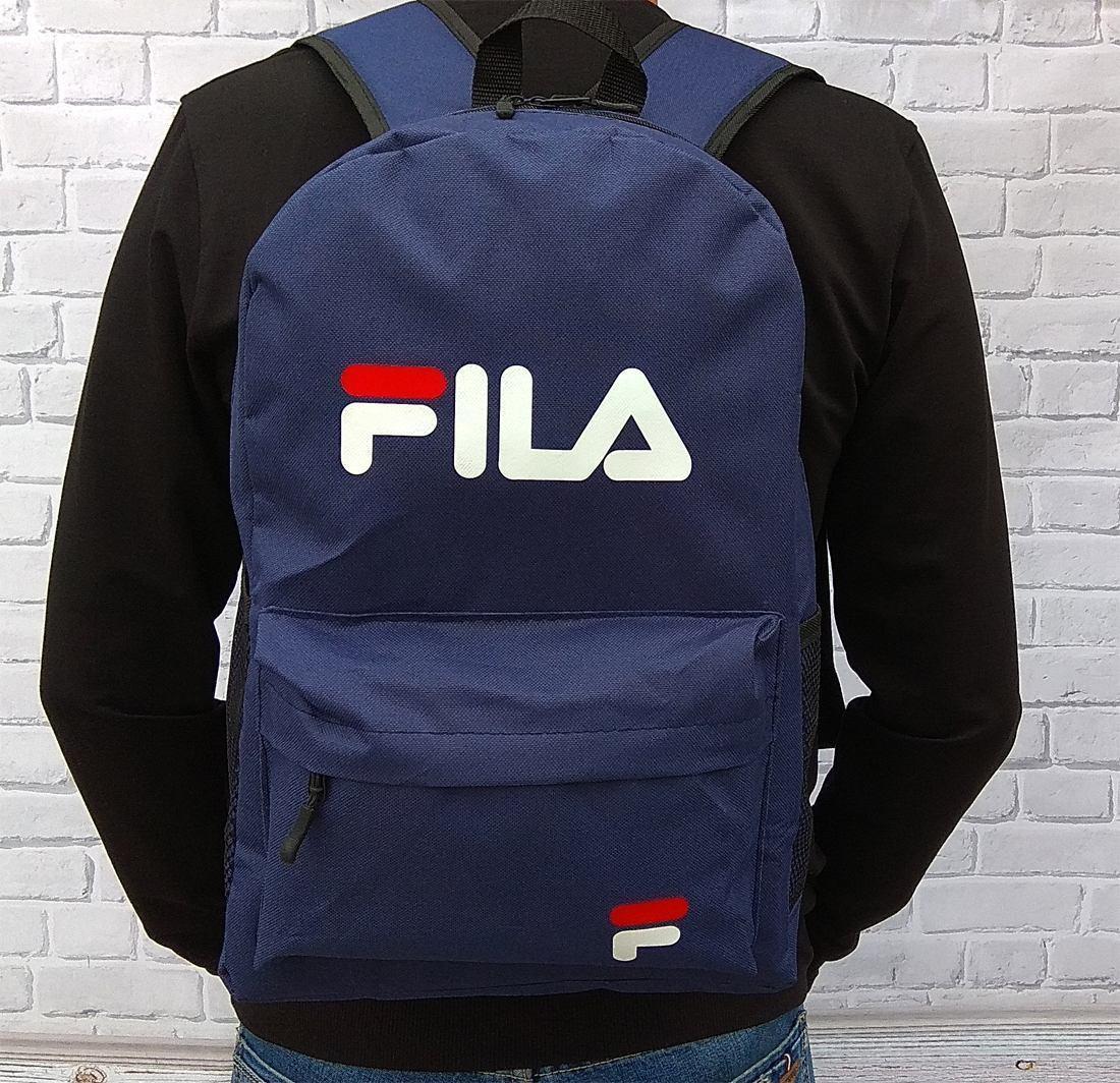 Качественный Рюкзак, портфель с накаткой FILA, фила. Синий / F 02