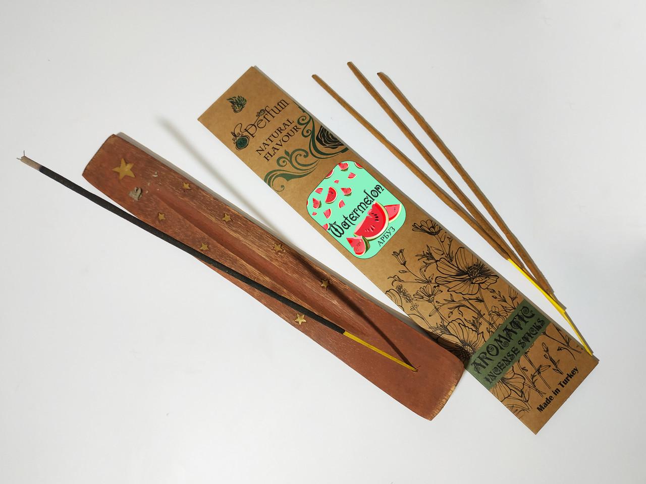 Набор: аромапалочки с ароматом арбуза + деревянная подставка под благовония