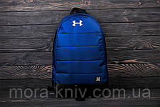 Стильный рюкзак Under Armour, андер темно-синего цвета с вставками кож зама черного цвета., фото 2