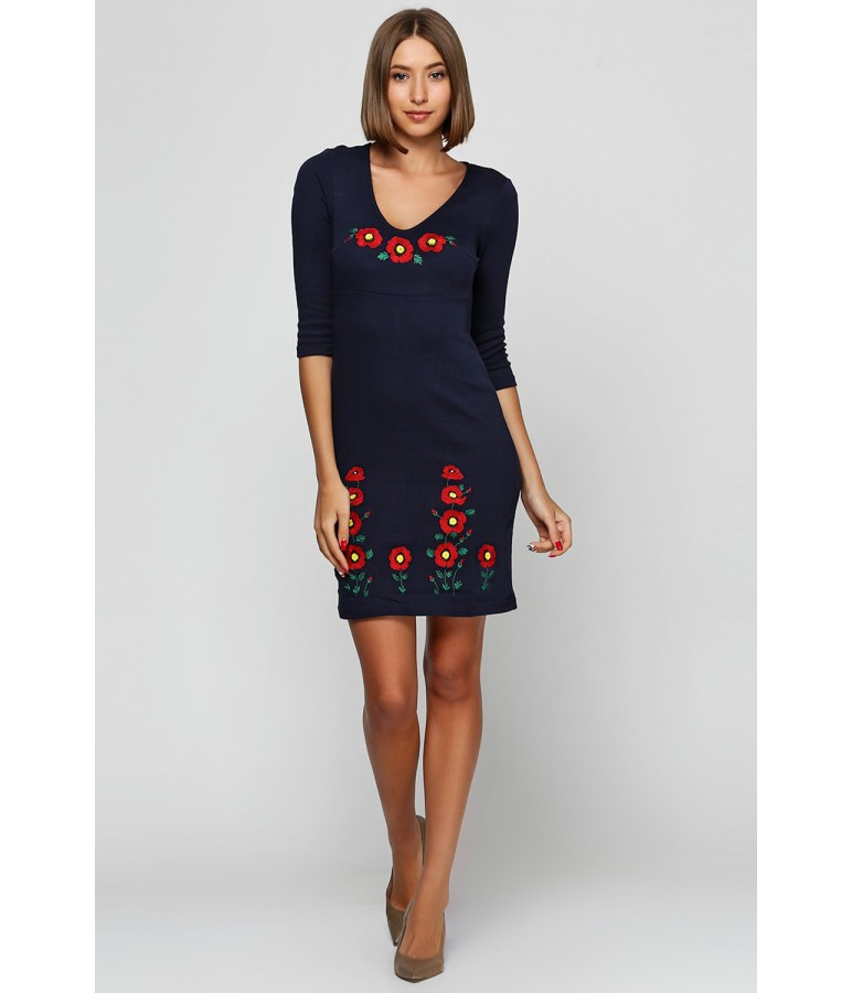 Платье вышитое гладью. Темно-синее платье. Платье вышивка. Платье в украинском стиле. Платье вышиванка.
