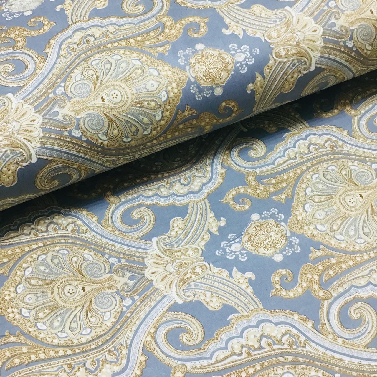 Ткань сатин с рисунком, крупный золотой орнамент на сине-сером (ТУРЦИЯ шир. 2,4 м) ОТРЕЗ(1*2,4)