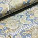 Ткань сатин с рисунком, крупный золотой орнамент на сине-сером (ТУРЦИЯ шир. 2,4 м) ОТРЕЗ(1*2,4), фото 3