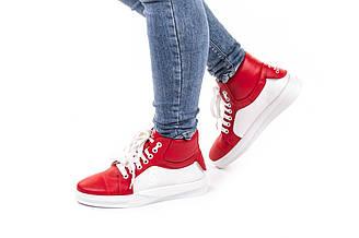 Высокие женские кеды кожаные 36-40  красный
