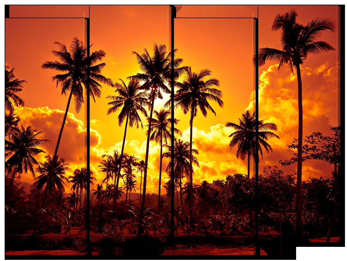 Модульная картина Interno Эко кожа Пальмы на солнце 104х79см (A1650М)