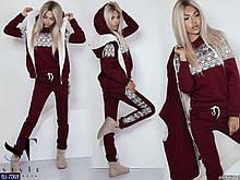 Женский классный зимний теплый спортивный костюм 3-ка,жилетка с капюшоном (турецкая 3-нитка с начесом) 3 цвета