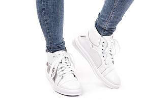 Модные высокие женские кеды кожаные  белые   36-40
