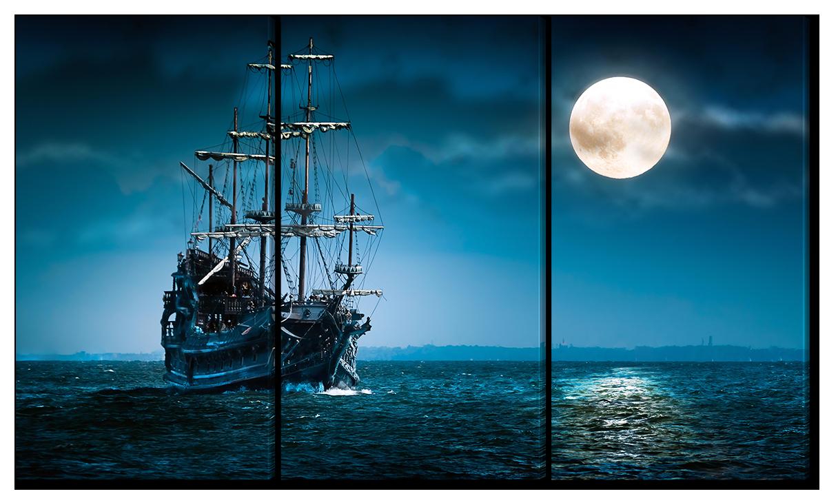 Модульная картина Interno Эко кожа Лунный корабль 144x82см(A1651XL)