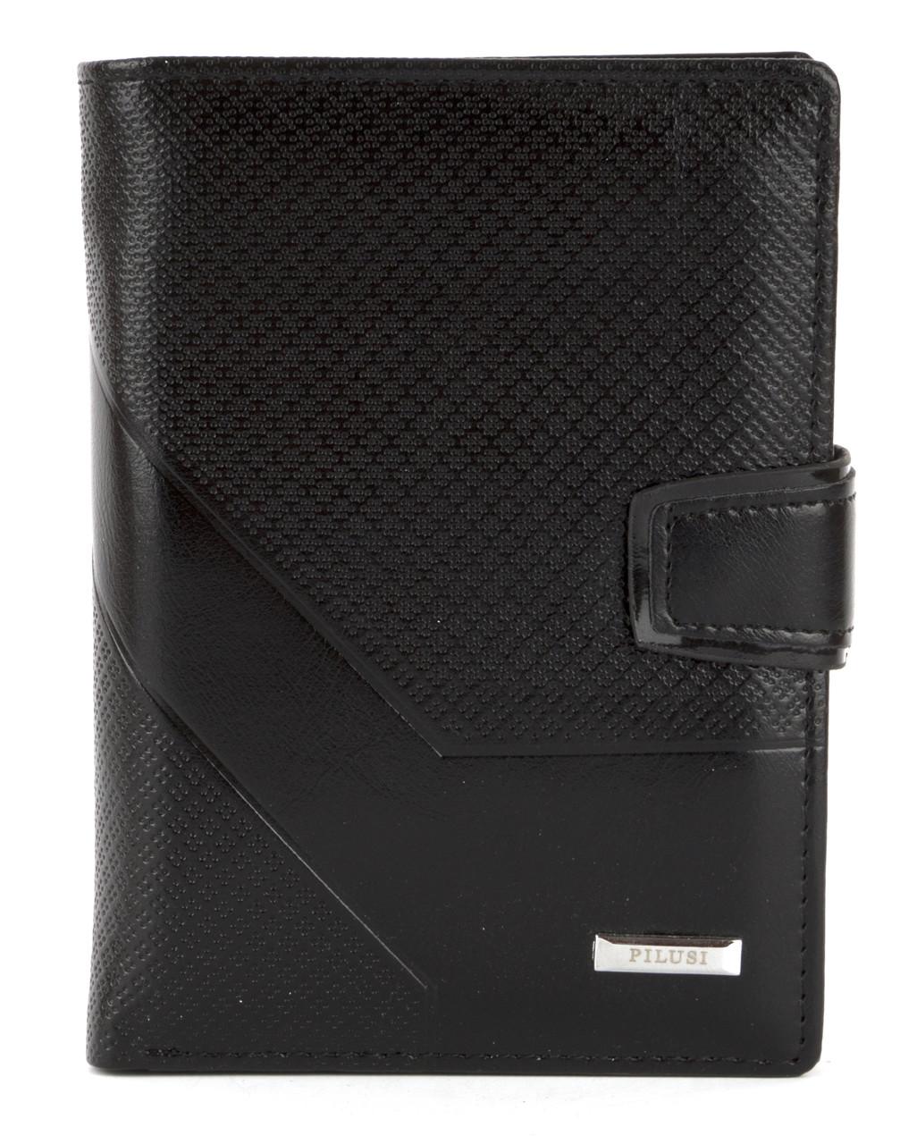 Мужской прочный кошелек из эко кожи PILUSI art.302B-36 черный