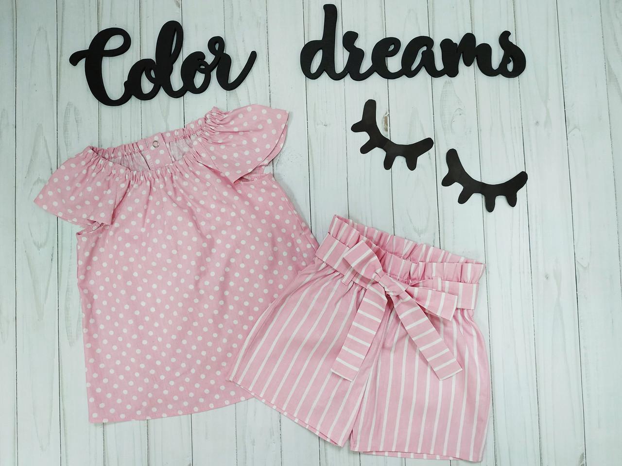 Летний костюм для девочки с шортиками на высокой посадке Горошек на розовом