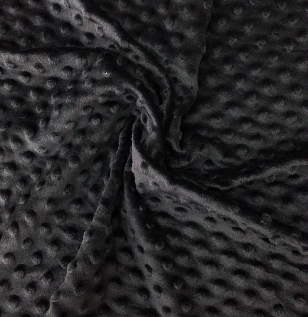 Плюшевая ткань Minky черный (плот. 350 г/м.кв) ОТРЕЗ(0,2*1,1)