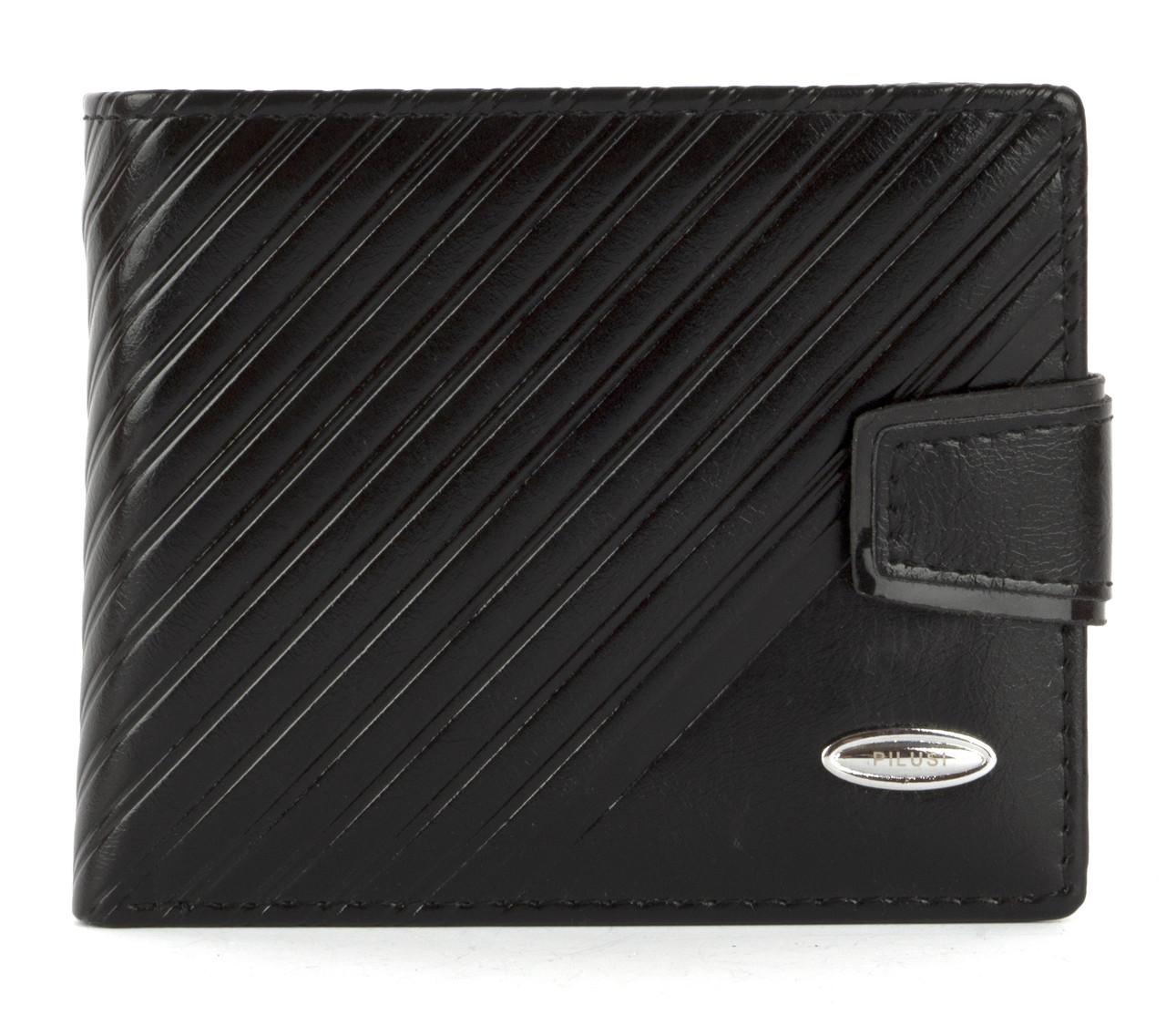 Мужской прочный кошелек из эко кожи PILUSI art.208-37 черный