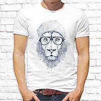 Мужская футболка с принтом Лев в шапке и очках Push IT