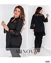 Красивая женская блуза с гипюровыми вставками с 48 по 62 размер, фото 3