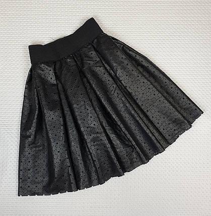 Кожаная юбка с перфорацией 140-158 черный, фото 2