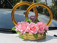 Кольца на свадебный автомобиль с цветами