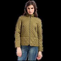 Женская осенняя куртка Finn Flare A17-32005 стеганная зеленая