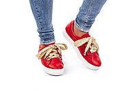 Женские кожаные кеды весенние  36-40 красный