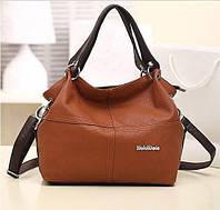 Женская кожаная сумка через плечо коричневая WEIDIPOLO
