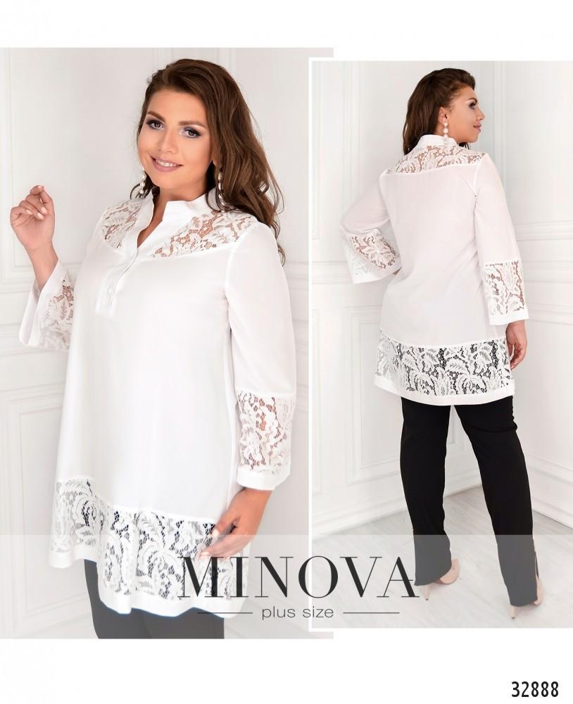 Красивая женская блуза с гипюровыми вставками с 48 по 62 размер