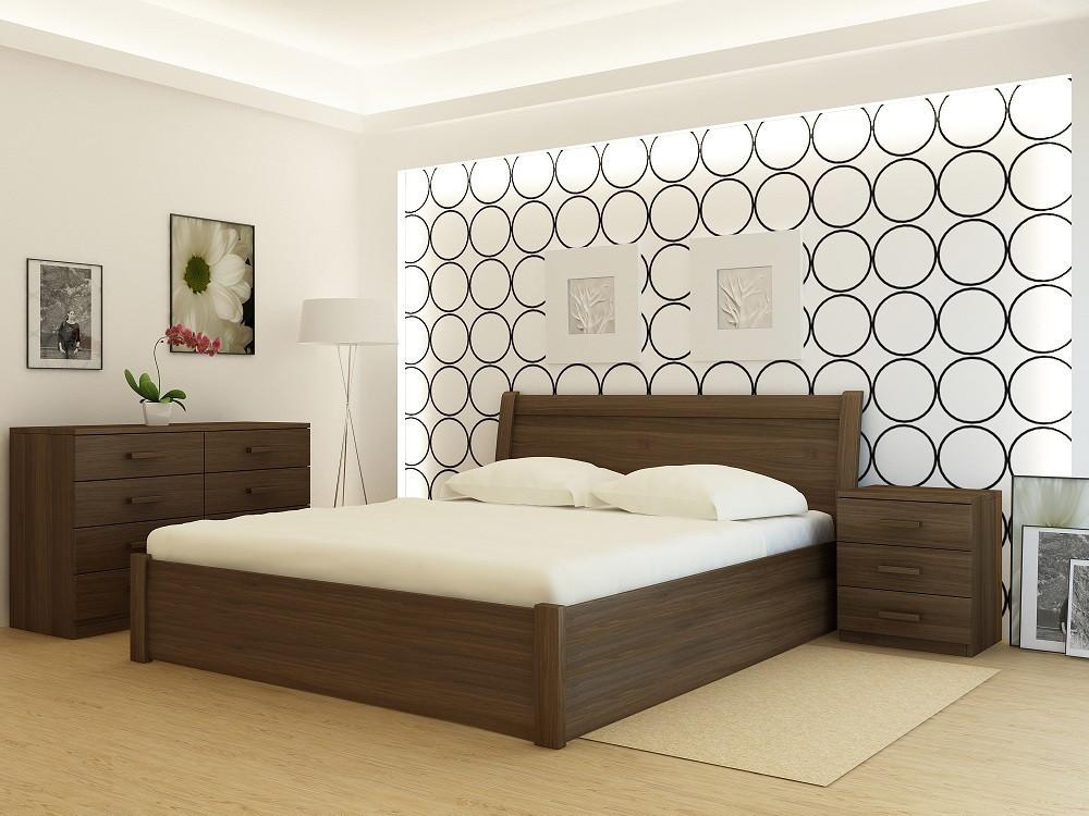"""Кровать деревянная TM """"YASON"""" Chalkida PLUS с подъемным механизмом Лак (Массив Ольхи либо Ясеня)"""