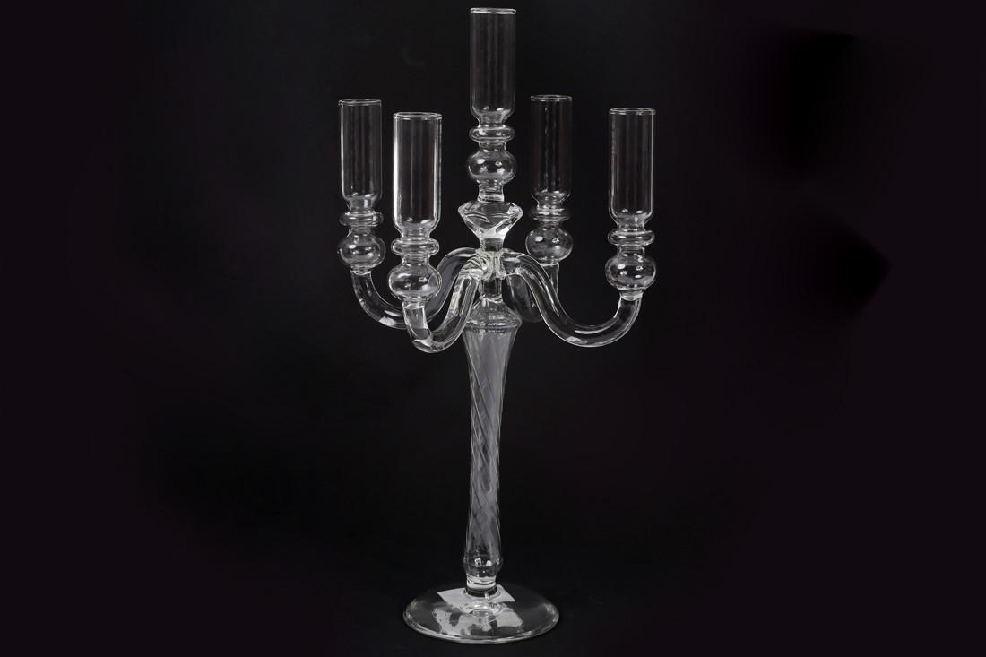 Подсвечник на 5 свечей, прозрачное стекло (881-124)