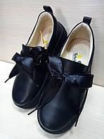 Мокасины кожаные школьные с бантом Tutubi для девочки Размеры 31.32.33.34.35.36
