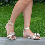 Босоножки женские кожаные на низком ходу, цвет золото, фото 2