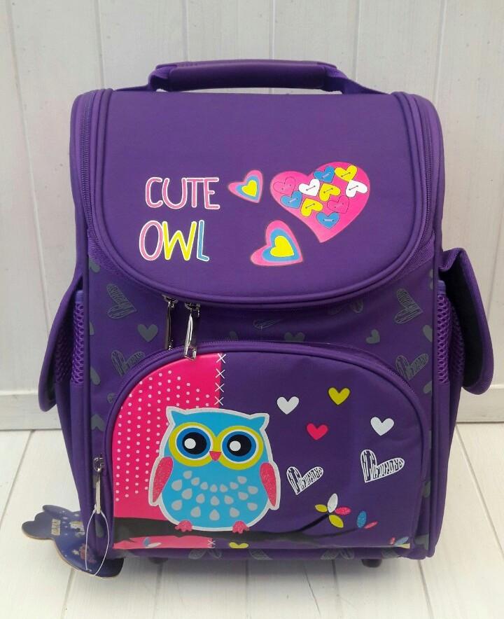 Школьный ортопедический рюкзак с принтом сова для девочки 1-4 класс 32*26*16 см