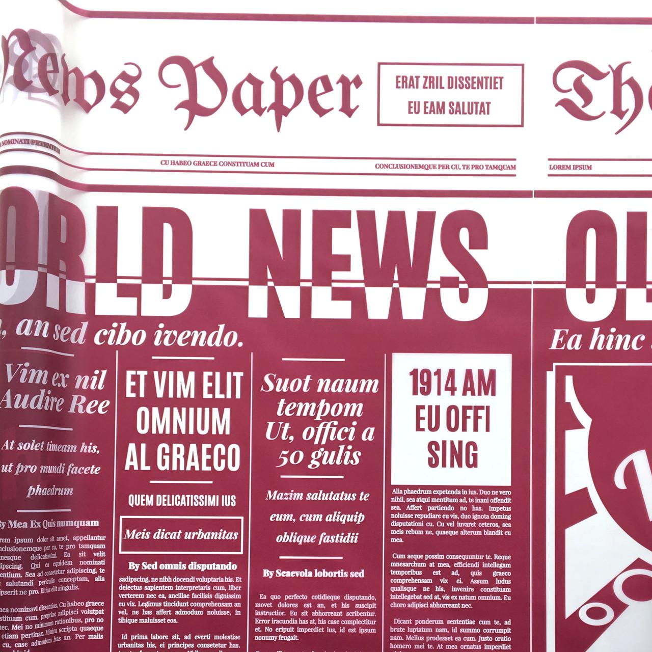 Тонированная пленка матовая (калька) Газета бордовая 70см х 10м