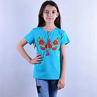 """Вишита футболка для дівчинки """"Мак-2"""""""